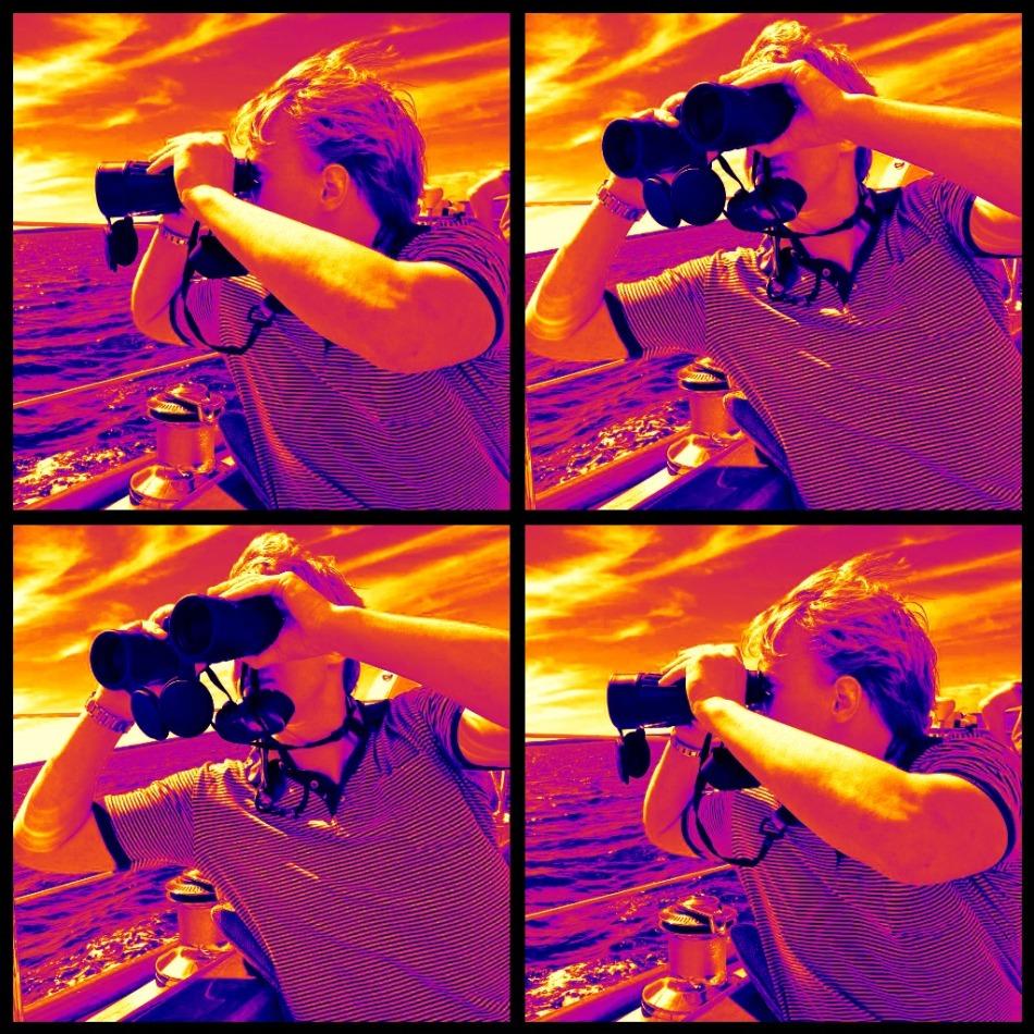 Using binoculars on a sail boat
